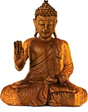 "G6 COLLECTION 12"" Wooden Serene Sitting Buddha Statue Handmade Meditating Sculpture Figurine Decorative Home Decor Accent ..."