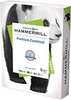 Hammermill White Cardstock, 110 lb, 8.5 x 11 Colored Cardstock, 1 Pack (200 Sheets) - Thick Card Stock, Made in the USA