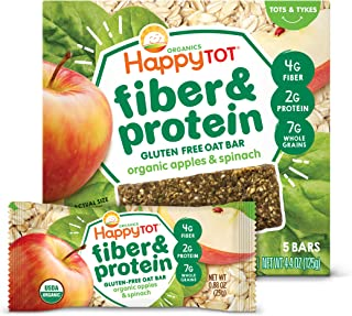 Happy Tot Organic Fiber & Protein Soft-Baked Oat Bars Toddler Snack Apple & Spinach, 0.88 Ounce Bars, 5 Count Box (Pack of...
