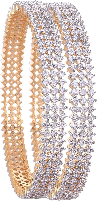 Ratnavali Jewels CZ Zirconia Gold Tone Green Diamond Elegant Bollywood Indian Bangles Jewelry Women