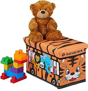 Relaxdays Caisse à Jouets Pliant, Motif, boîte de Rangement avec Espace & Couvercle, rembourré, 27x40x25 cm, Orange, MDF, ...
