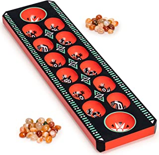 Yellow Mountain Imports Mancala Set with Wooden Board and Quarts Pebble Playing Pieces, Lacquer Black