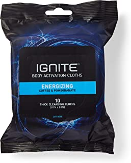 Ignite Mens Body Wipes, Shower Wipes with Bold Energizing Scent, 10 Wipes, Great for After Gym Wipes, Camping Wipes, Travel Wipes, Extra Thick 8 X 8