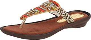 Catwalk Women's Floral Beaded Thong Orange Outdoor Sandals