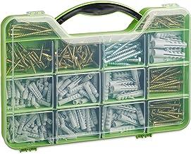 Relaxdays Plugschroeven, assortimentskoffer met spreidpluggen, zeskant- & spaanplaatschroeven, 14 vakken, groen