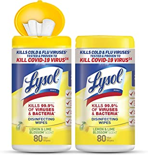Lysol Disinfectant Wipes, Multi-Surface Antibacterial Cleaning Wipes, For Disinfecting and Cleaning, Lemon and Lime Blosso...
