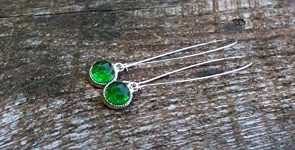 Recycled Vintage Green Beer Bottle Long Drop Charm Earrings