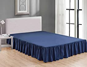 Sheets & Beyond Wrap Around Solid Luxury Hotel Quality Fabric Bedroom Dust Ruffle Wrinkle and Fade Resistant Gathered Bed Skirt 14 Inch Drop (Full, Navy)