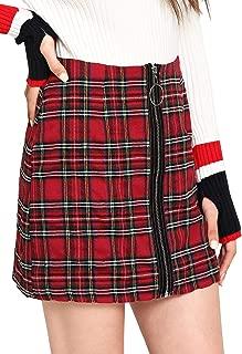 WDIRA Falda de Mujer Casual de Cintura Media por Encima de la Rodilla con Cierre Frontal