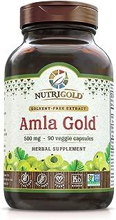 NutriGold Amla Gold Veggie Capsules Amalaki Indian Gooseberry, 500 mg, 90 Count