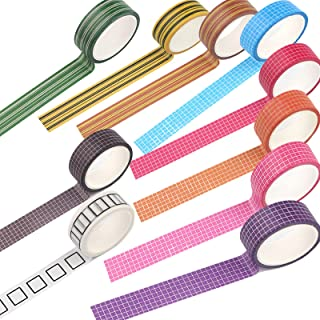 LFYZ Ruban Décoratif, Caricature de Texture en Treillis Carré 10 Rouleaux Washi Tape Set, Collection de Papier Bricolage L...