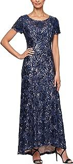 Alex Evenings Women's Long A-line Rosette Dress with Short Sleeves Sequin Detail