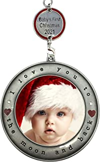 BANBERRY DESIGNS Baby's First Christmas 2020 - Picture Frame Ornament I Love You to the Moon and Back - Dated Charm Babys ...