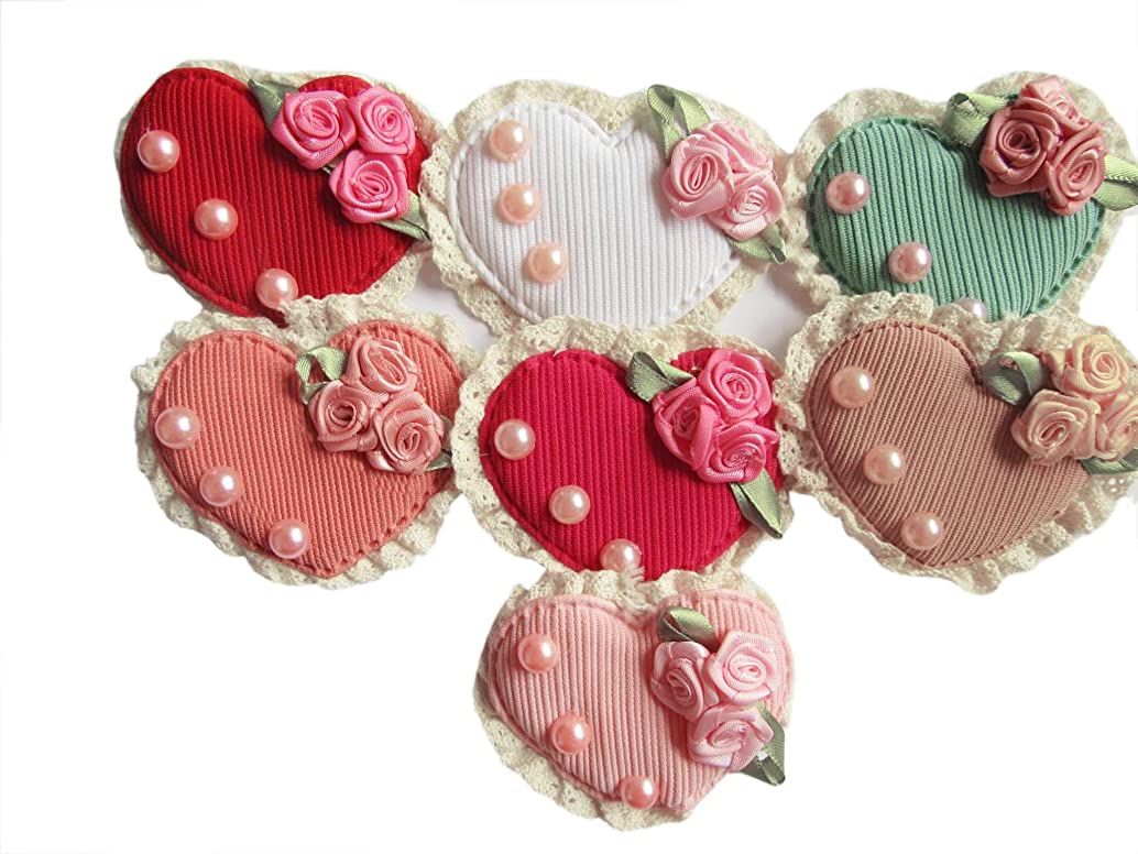 YYCRAFT 15pcs Padded Lace Heart Applique with Rose and Pearls, 3.25