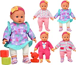 Doll with Clothes Set, Baby Doll with 4 Complete Outfits and Accessories, Blocks, Shoes