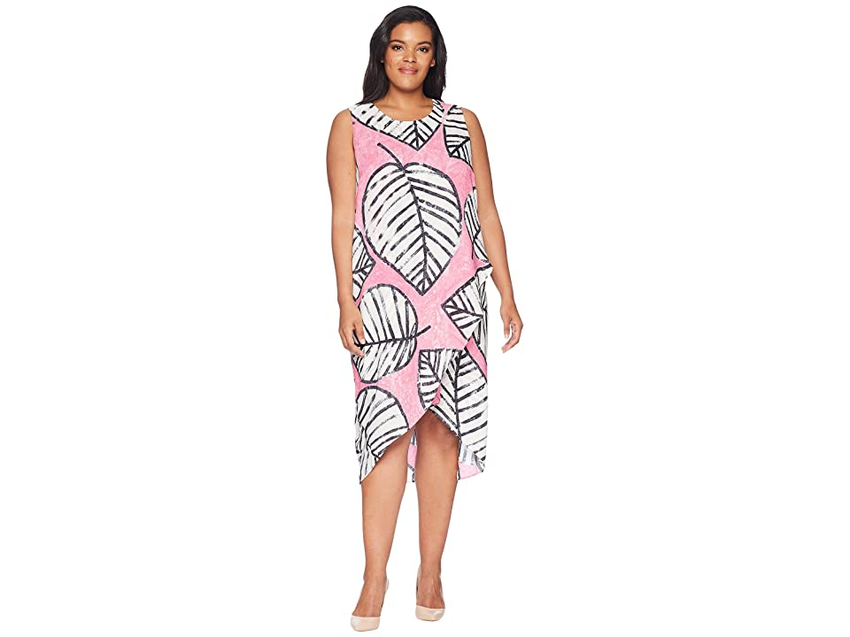 NIC+ZOE Plus Size Etched Leaves Wrap Dress (Cactus Flower) Women