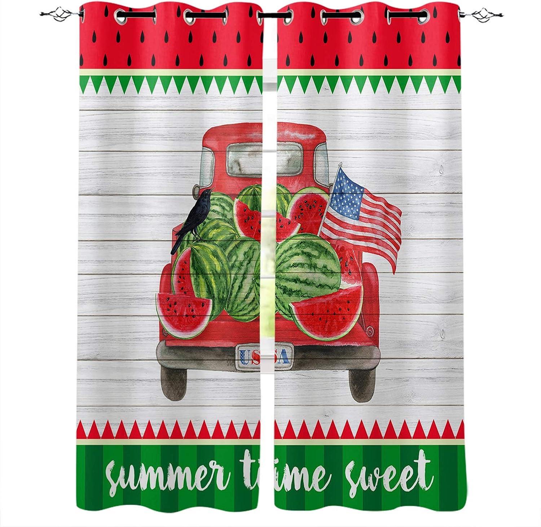 Blackout Curtains Drapes 正規品 セール特別価格 Summer Truck USA Watermelon Fla Flower