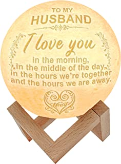 Engraved lamp 5.9 Inch 3D Printing Moon, Dimmable with Tap Control, Rechargeable Lunar Home Decorative Night Light for Valentine's Day (to Husband)