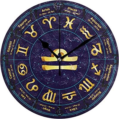 LDIY Art Golden Zodiac Blue Circle Round Wall Clock Circular Plate Silent Non Ticking Clocks for Kitchen Home Office School Decor Kid Boys Girls