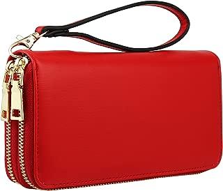 Vegan Double-Zipper Wallet Clutch with Removable Wrist Strap