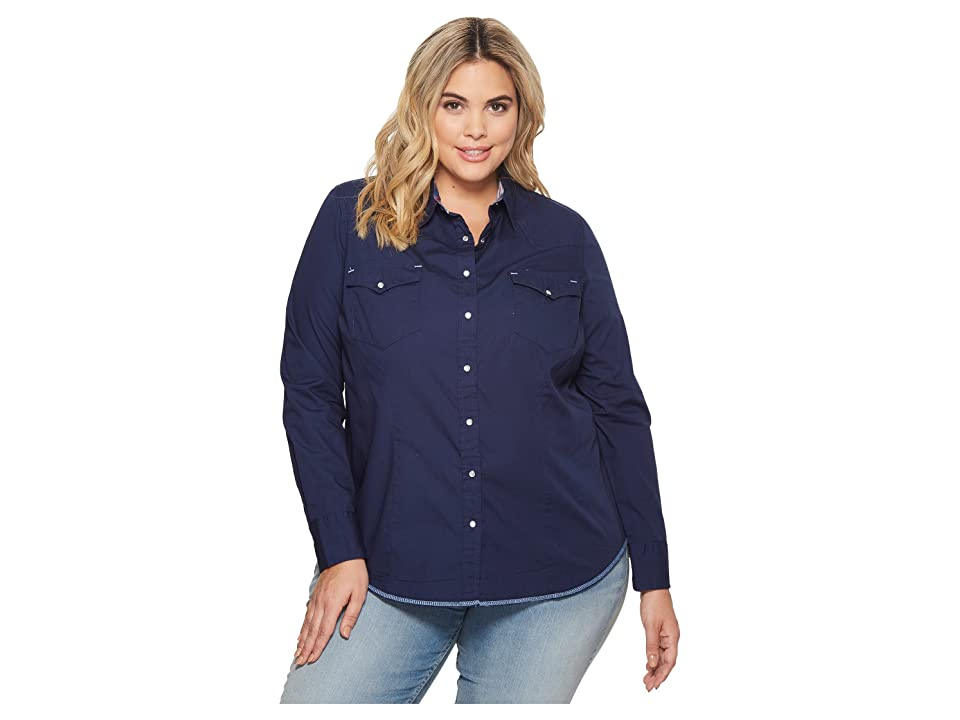 Roper Plus Size 1540 Solid Poplin (Blue) Women
