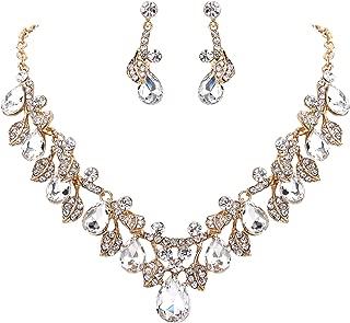 BriLove Women's Wedding Bridal Crystal Teardrop Cluster Leaf Vine Enamel Statement Necklace Dangle Earrings Set