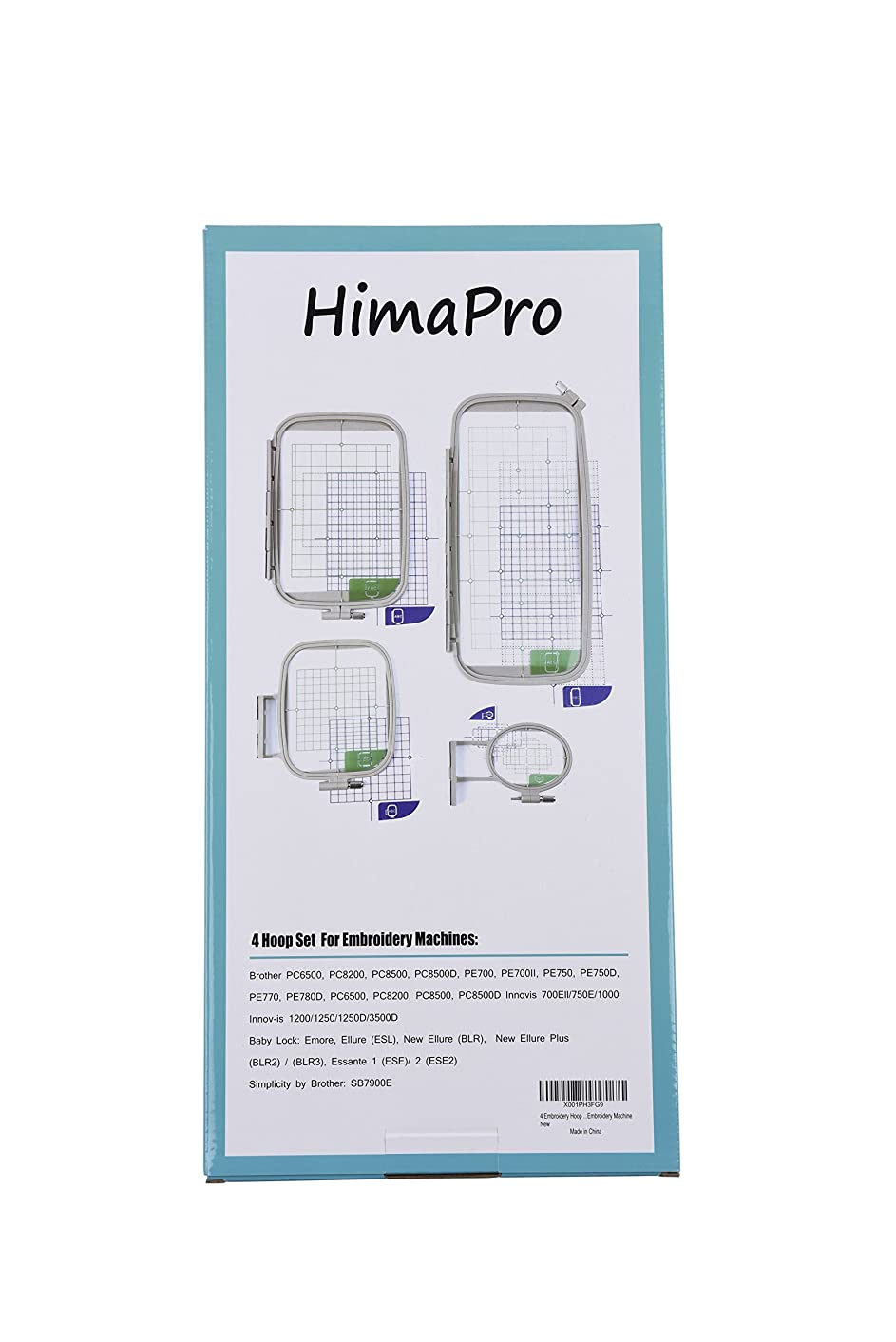4pc Embroidery Hoop Set for Brother Embroidery Machine PC6500, PC8200, PC8500, PC8500D, PE700, PE700II, PE750, PE750D, PE770, PE800, PC6500, PC8200, PC8500, PC8500D Innovis 700Ell/750E/1000