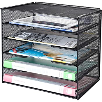 Samstar Letter Tray Paper Organizer, Mesh Desk File Organizer with 5 Tier Shelves and Sorter, Black