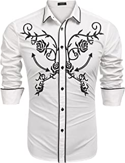COOFANDY Men's Long Sleeve Floral Embroidered Shirts Western Snap Denim Button Down Shirt