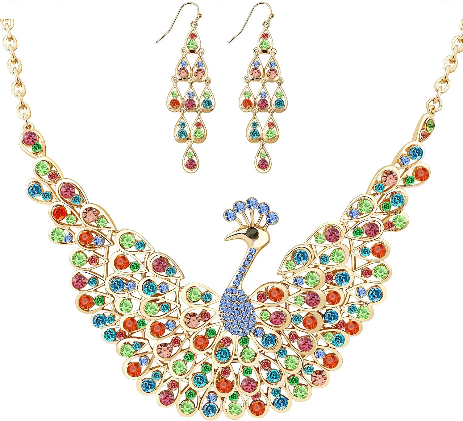 Peacock Necklace Earrings Jewelry Set for Women, Bling Jewelry Set for Night Out Party, T Show