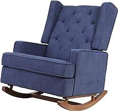 Rocking Armchair Feeding Chair Nursing Fabric Chair Lounge Sofa Recliner Tufted Wingback Accent Chair (Blue)