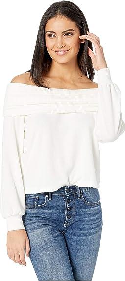 Fold-Over Off Shoulder Brushed Jersey Top