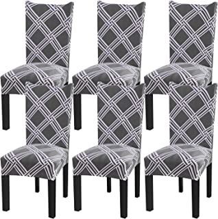 Fuloon Super Fit Stretch Jacquard Removable Washable Short Dining Chair Covers Seat Slipcover for Hotel,Dining Room,Ceremony,Banquet Wedding Party (6, D)