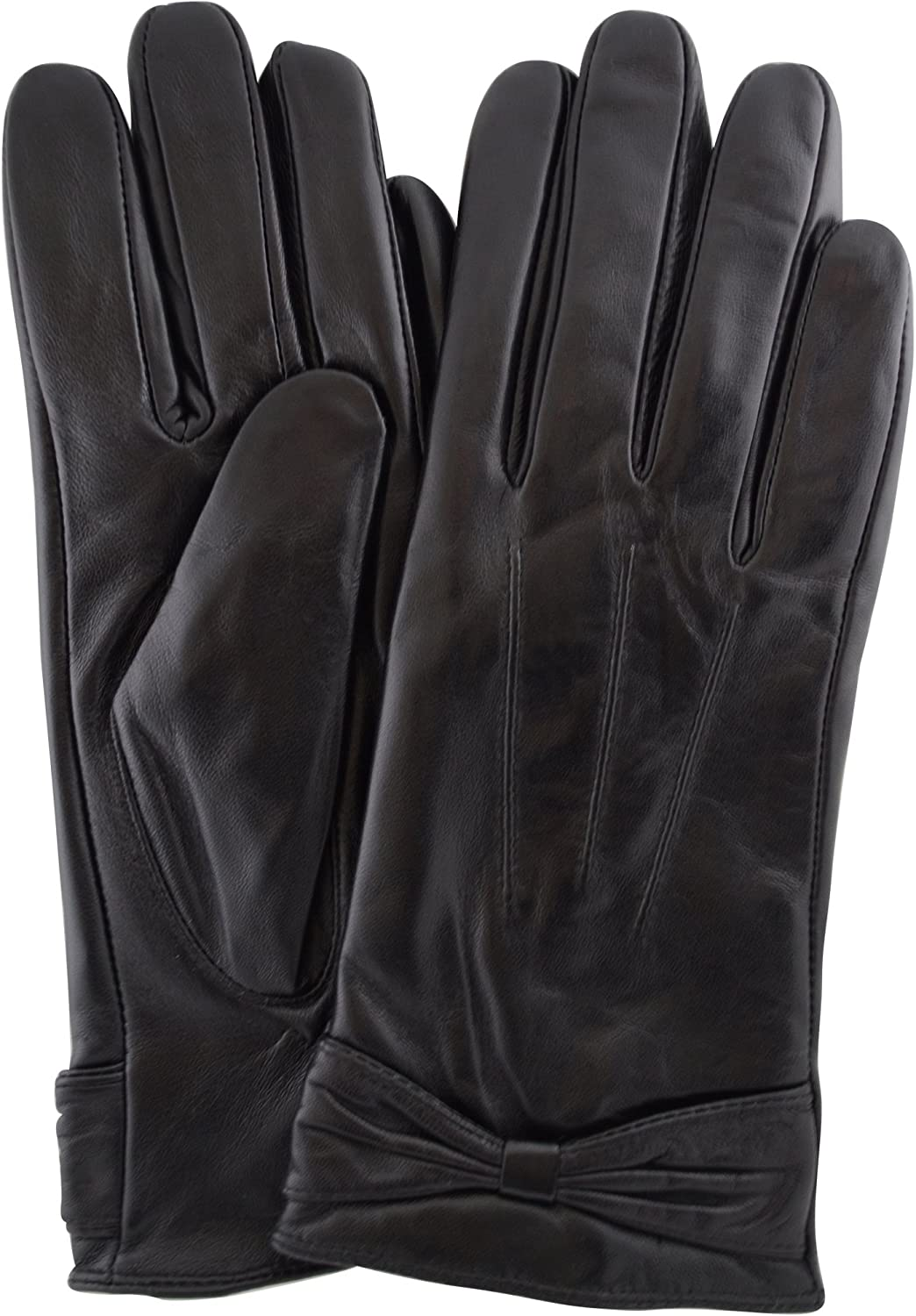 Ladies Butter Soft Preminum Leather Glove with bow & 3 Point Stitch design - Black - X-Large (8
