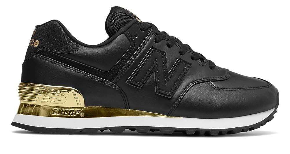 ハチ起きてただ(ニューバランス) New Balance 靴?シューズ レディースライフスタイル 574 Gold Dip Black with Metallic Gold ブラック メタリック ゴールド US 5 (22cm)