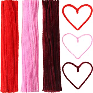 Sumind 300 Pieces Chenille Stems Pipe Cleaners Fluffy Sticks for Arts and Crafts Decoration, 6 by 300 mm (Red, Pink and Wine Red)