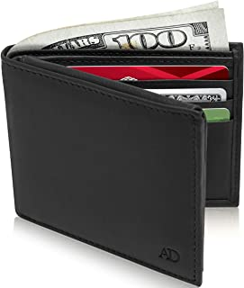 Slim Leather Bifold Wallets For Men - Minimalist Mens Wallet RFID Blocking Card Holder With ID Window Box Gifts For Men