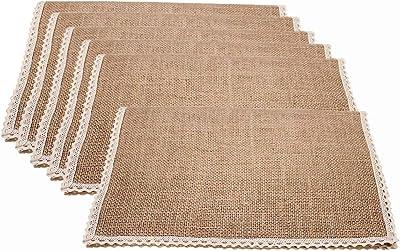 Amazon Com Benson Mills Woven Vinyl Placemats Almond 13 X 18 Set Of 6 Home Kitchen