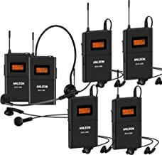 Anleon 902mhz-927mhz Tour Guide Wireless System Church System translation equipment simultaneous interpretation equipment (1 Transmitter and 5 Receivers)