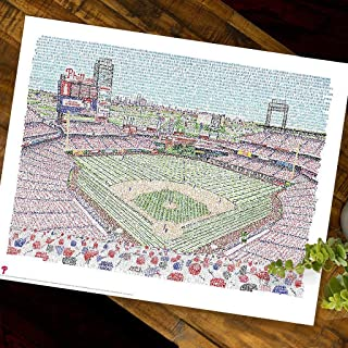 Citizens Bank Park Word Art Print - 16x20 - Handwritten with The Names of Every Phillies Player in History 1883-2018