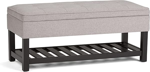 Simpli Home AXCCOS OTTBNCH 01 CLG Cosmopolitan 44 Inch Wide Traditional Ottoman Bench In Cloud Grey Linen Look Fabric