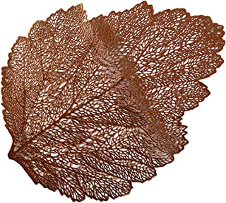 Yunzee Maple Leaf Shaped Felt Placemat, Non-Slip Place Mats Table Decoration Fall Thanksgiving,Bronze,18.50x13.78inch