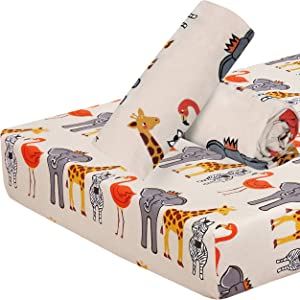 Ruvanti Fitted Crib Sheet, Cotton Flannel Cot Sheet, 1 Pack Animal Design Warm-Super Soft -Moisture Wicking & Breathable Sheets for Crib Bedding. Toddler Bed Sheets for Baby Boys & Girls.
