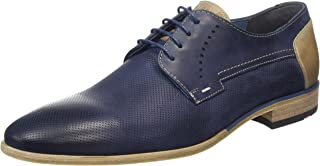 DRANNON Men's Dressy Casual Ocean Blue Leather Shoes Made in Germany US9.5