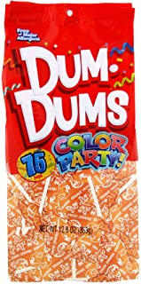 Dum Dums Color Party Lollipops, Orange, Orange Flavor, 12.8 Ounce, 75 Count Bag