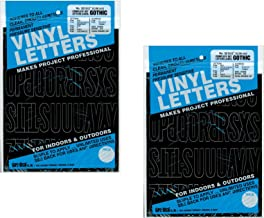 """Duro Decal Permanent Adhesive Vinyl Letters & Numbers: 2"""" Gothic Black (Pack of 2)"""
