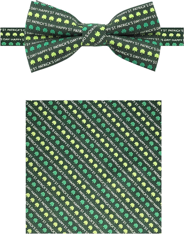 Jacob Alexander Men's Happy St. Patrick's Day Shamrocks Pre-Tied Banded Bow Tie and Pocket Square Set