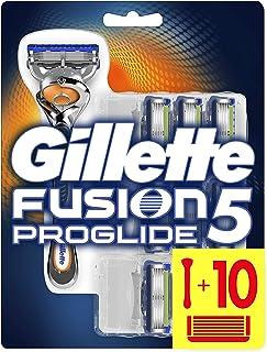 Gillette Fusion 5 Proglide Rasoio Uomo + 10 Lamette di Ricambio Con Tecnologia FlexBall