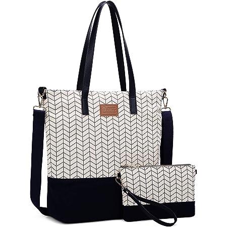 Myhozee Damen Handtasche Canvas Groß Schultertasche Tasche mit Einer Portmonee 2 Sets, Schwarz