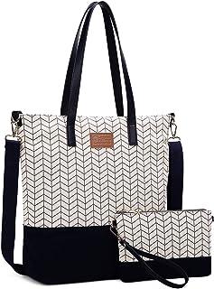 Myhozee Damen Handtaschen & Umhängetaschen 2 in 1 Taschen Canvas Gross mit Kleiner Clutch Bag,Schultertaschen-DamenGroß...